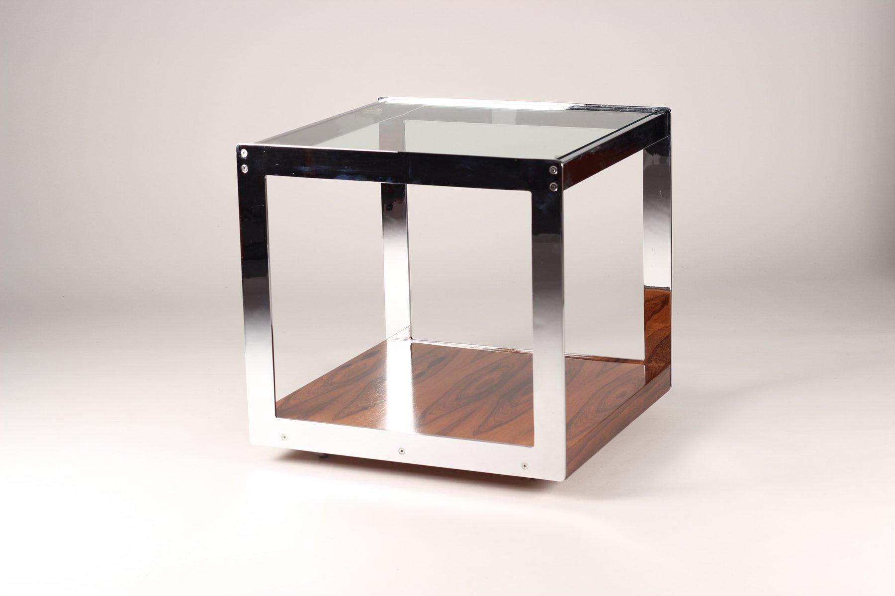 Bemerkenswert Glasbeistelltisch Dekoration Von Mid-century Palisander Chrom & Glas Beistelltisch Von