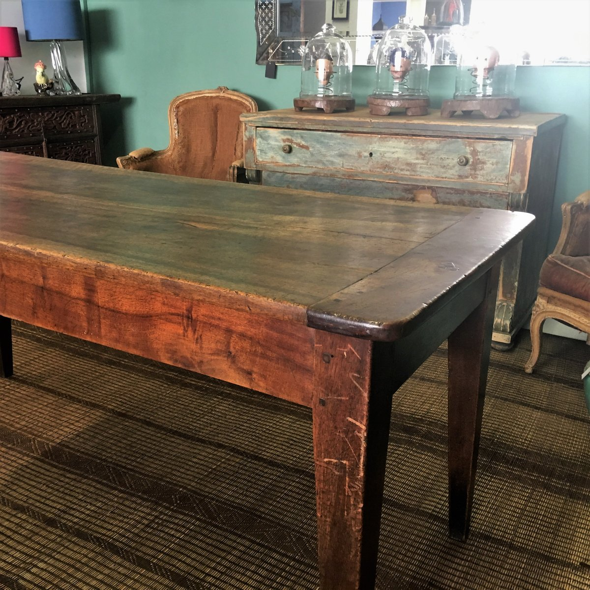 Antique French Walnut Dining Table For Sale At Pamono