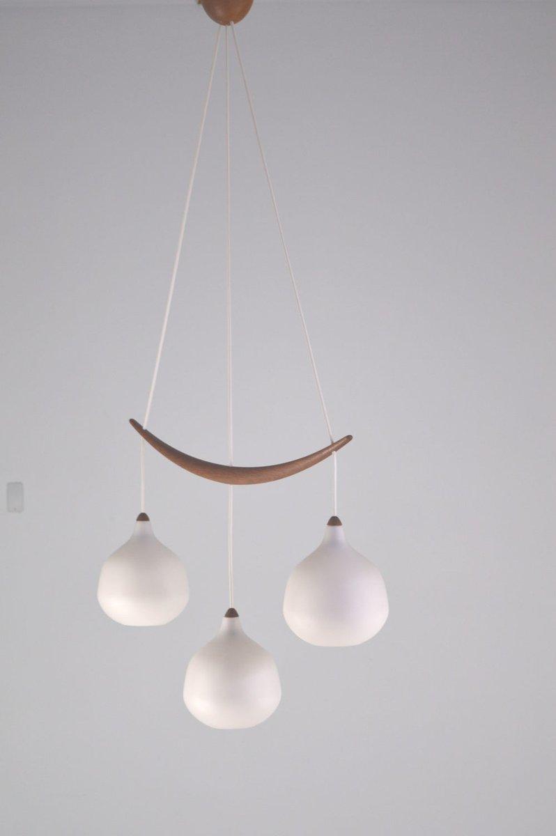 Hängelampe mit drei Leuchten von Uno & Östen Kristiansson für Luxus, 1...