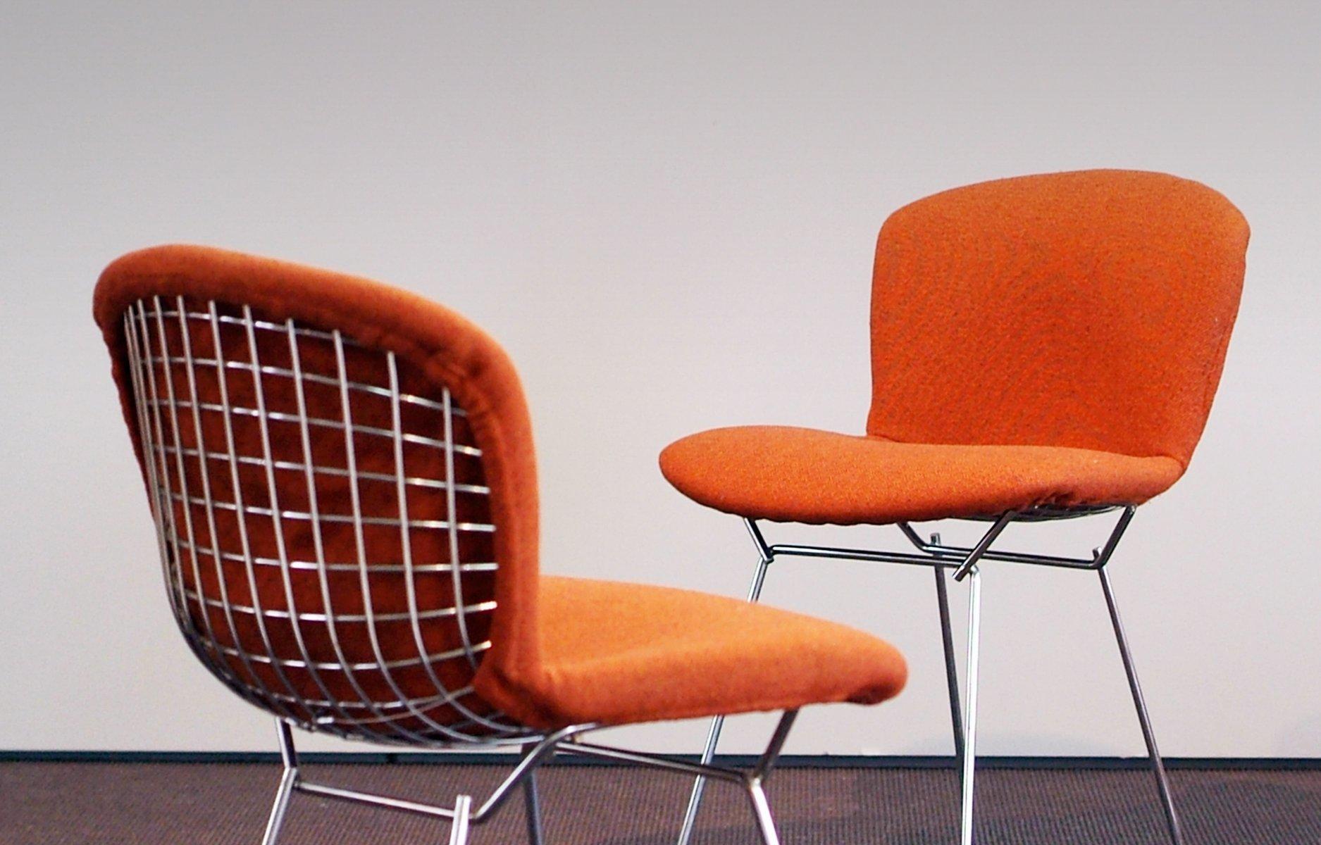 chaise d 39 appoint en m tal orange par harry bertoia pour knoll international 1960s set de 6 en. Black Bedroom Furniture Sets. Home Design Ideas