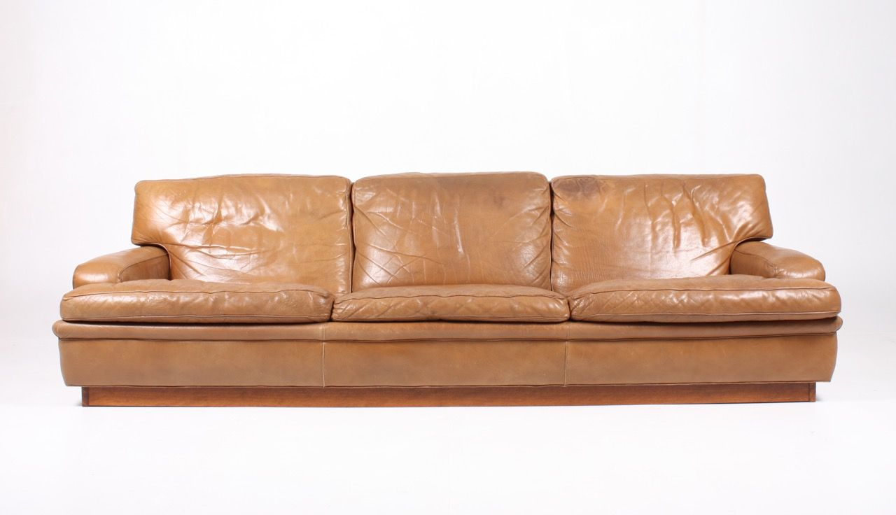3 Seater Leather Sofa By Arne Norell, 1960s