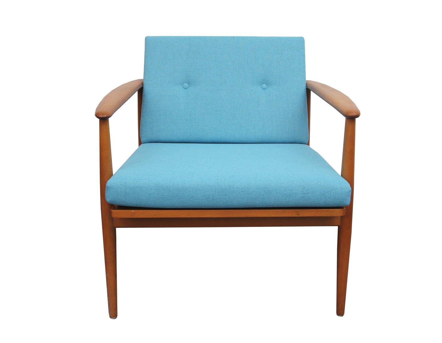 fauteuil vintage h tre bleu clair en vente sur pamono. Black Bedroom Furniture Sets. Home Design Ideas