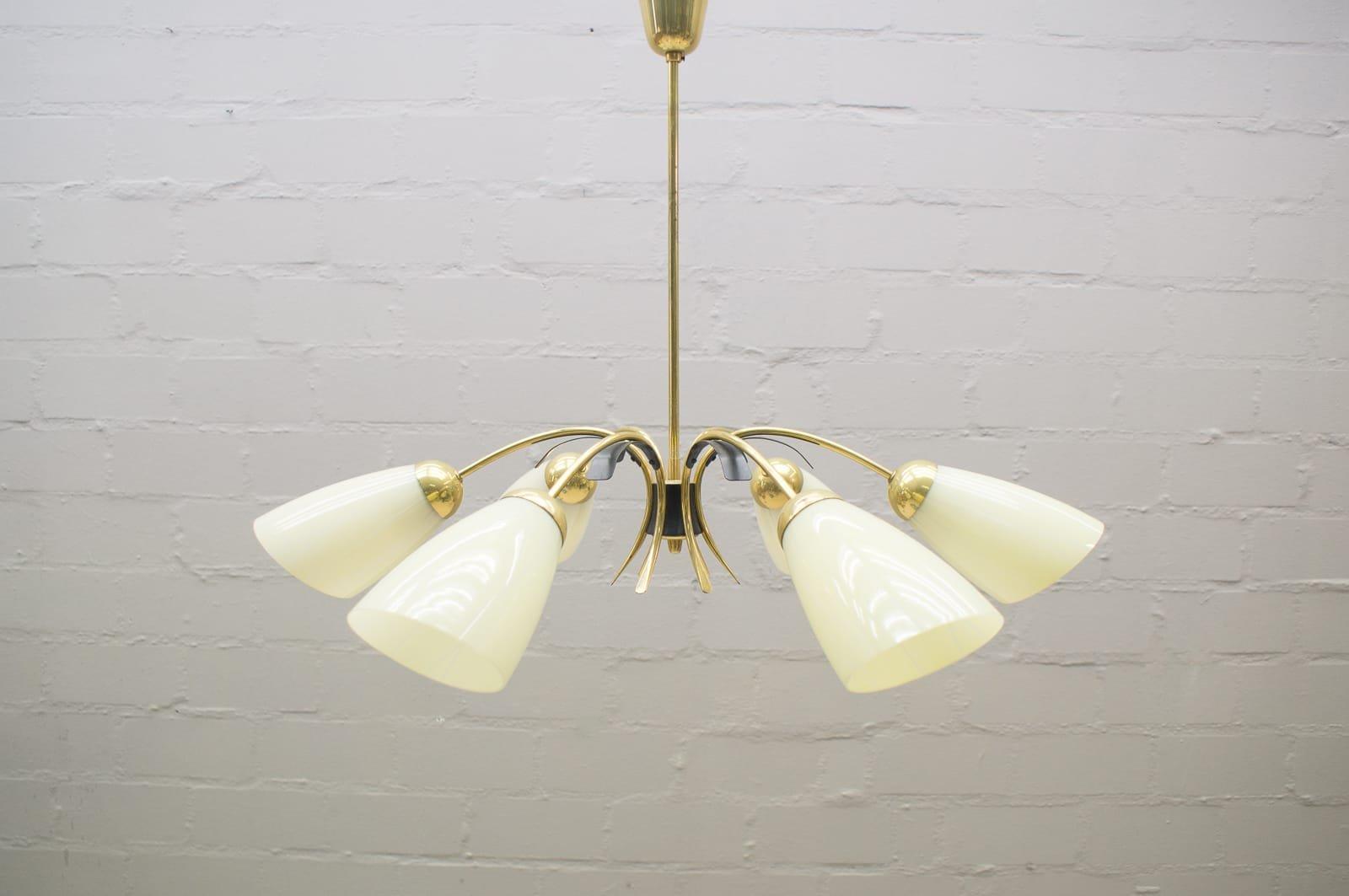Brilliant Messing Deckenlampe Sammlung Von Zweifarbige Mid-century Sputnik Glas & 6-arm