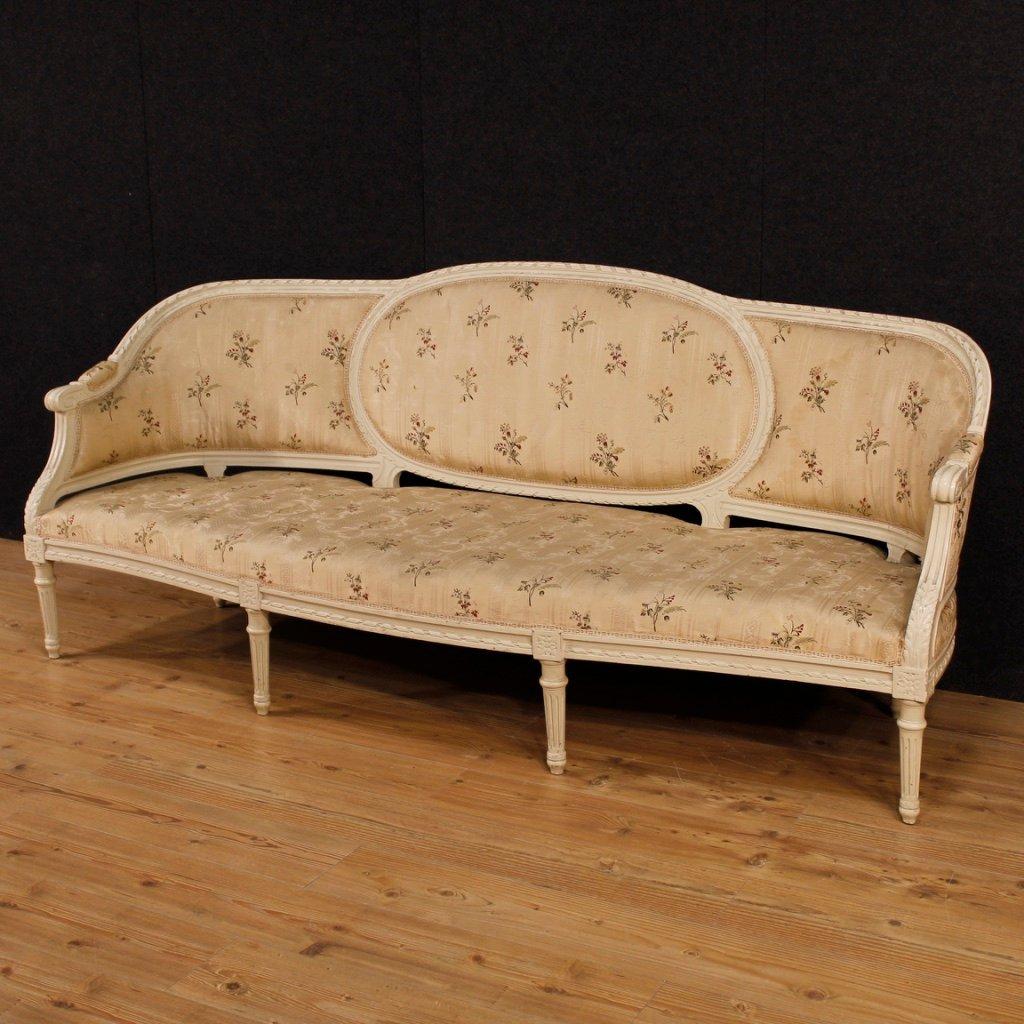 franz sisches mid century 4 sitzer sofa aus lackiertem holz bei pamono kaufen. Black Bedroom Furniture Sets. Home Design Ideas