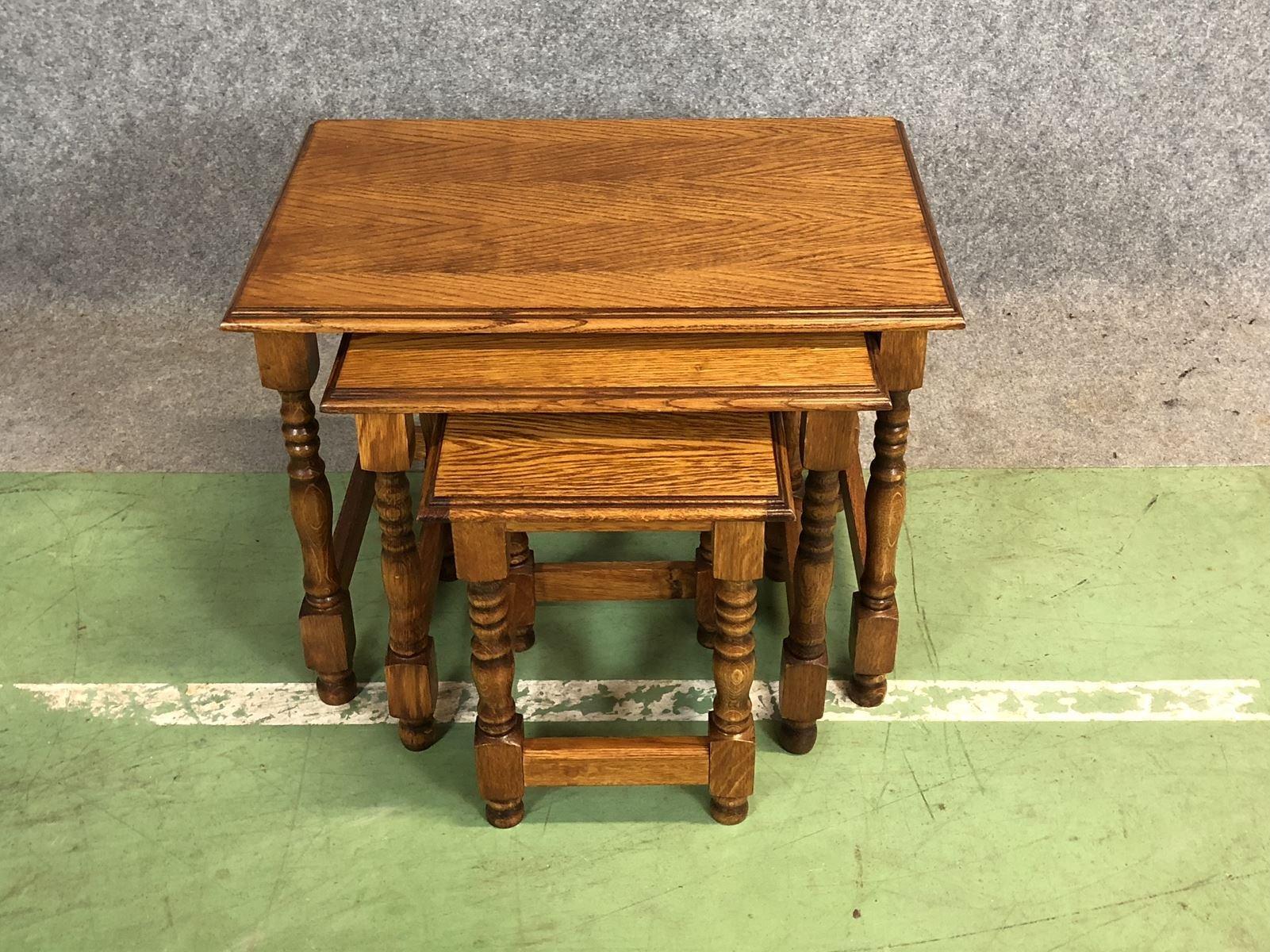 Mid Century Oak Nesting Tables