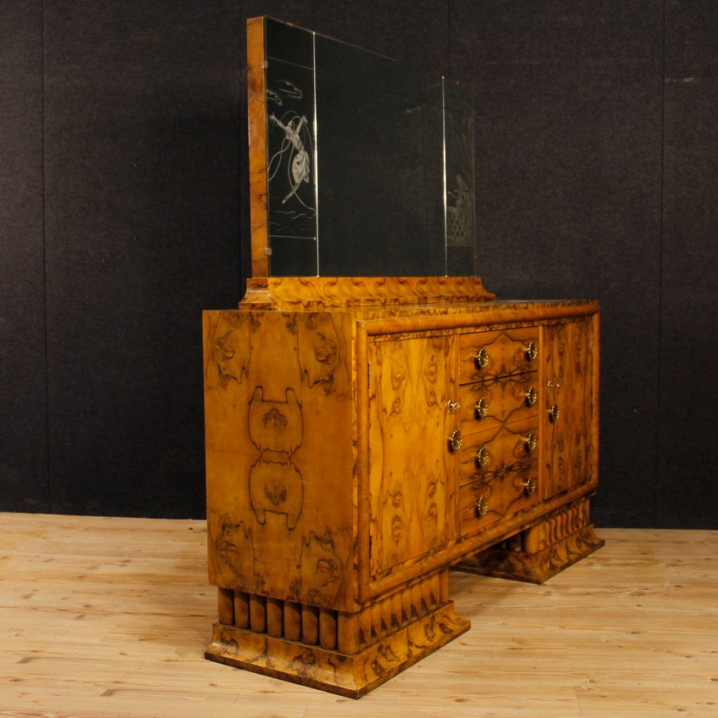 art deco italian sideboard with mirror in burl walnut for sale at pamono. Black Bedroom Furniture Sets. Home Design Ideas