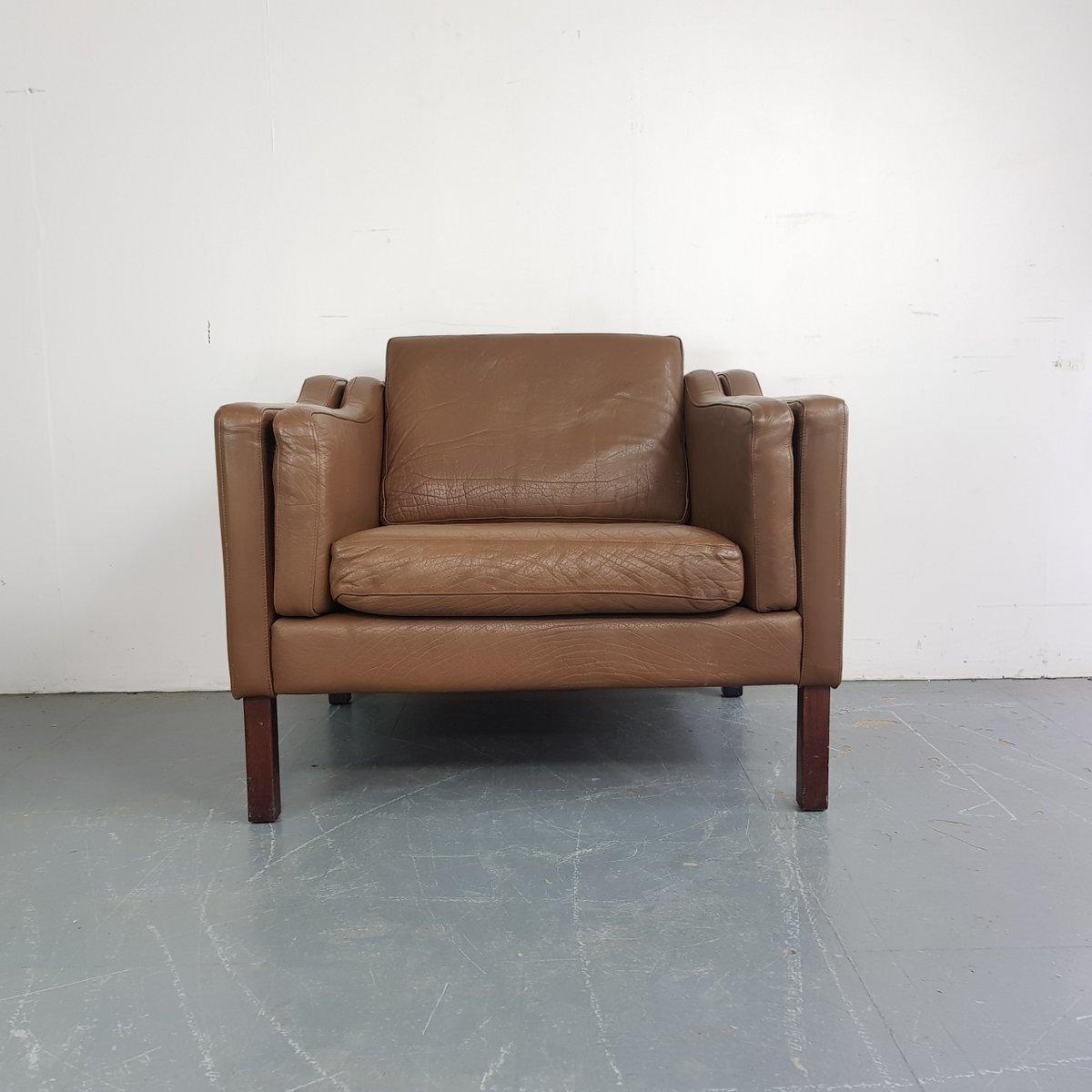 Dänischer brauner Leder Sessel, 1970er