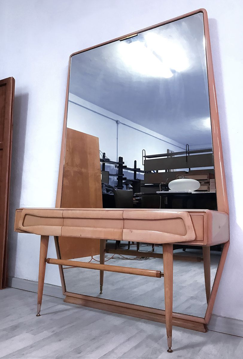 Mid Century Italian Maple Vanity Dresser With Mirror