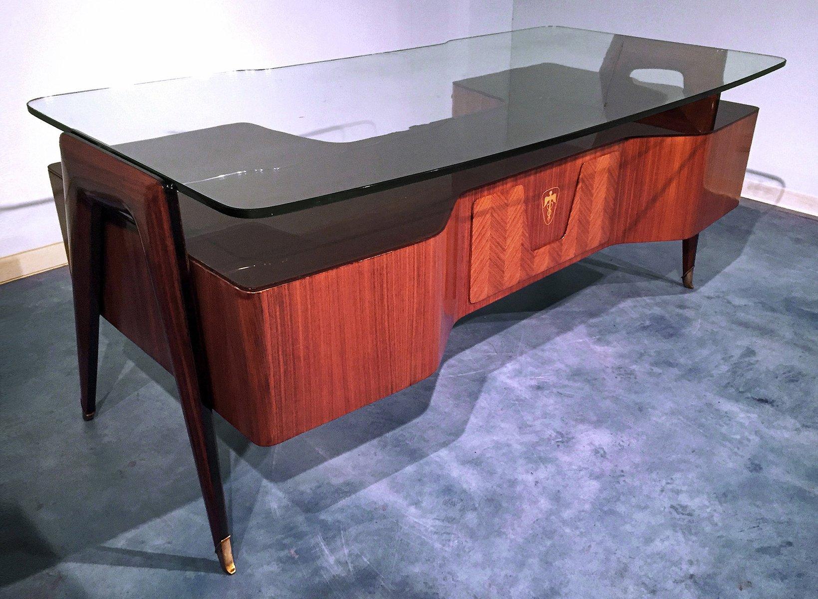 italienischer mid century palisander schreibtisch mit schwebender glasplatte von vittorio dassi. Black Bedroom Furniture Sets. Home Design Ideas