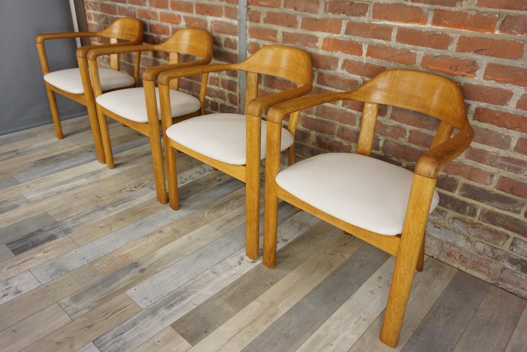 Runder Tisch Mit 4 Eichenholz Stühlen 1980er Bei Pamono