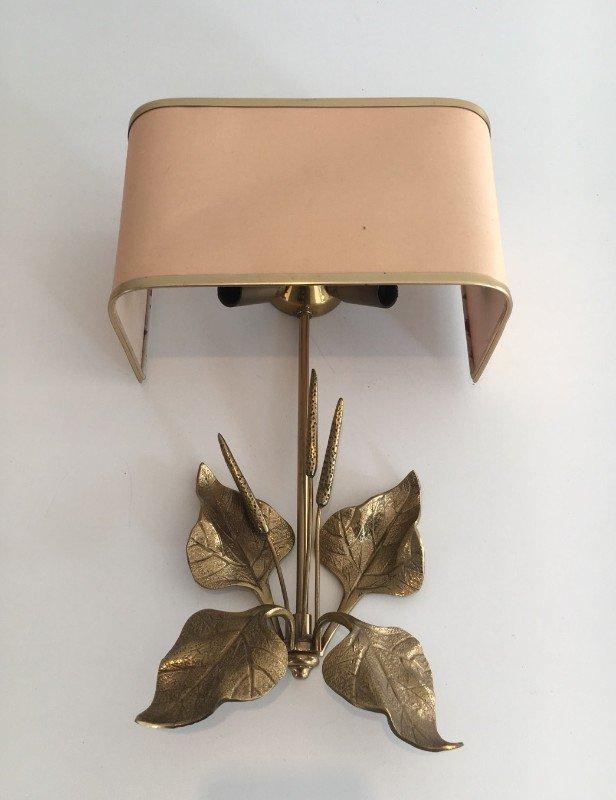 Bronze Wandlampen mit Blätern, 1960er, 2er Set