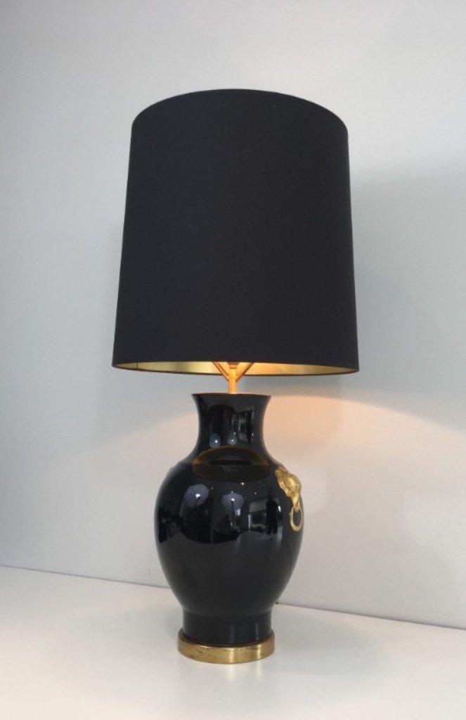 Französische Keramik Tischlampe in Schwarz & Gold, 1970er
