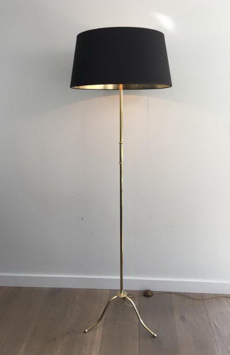 Französische Messing Dreibein Stehlampe, 1940er