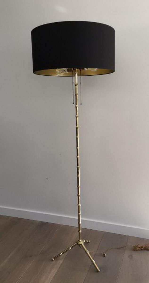 Stehlampe in Bronze & Messing in Bambus Optik von Jacques Adnet, 1940e...