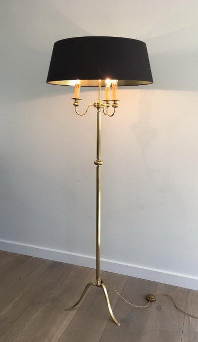 Neoklassizistische Messing Stehlampe mit 3 Leuchten, 1960er