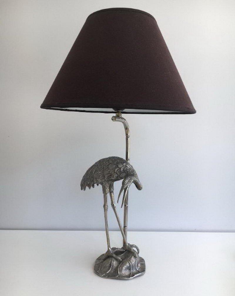 Französische versilberte Reiher Lampe von Maison Bagues, 1960er