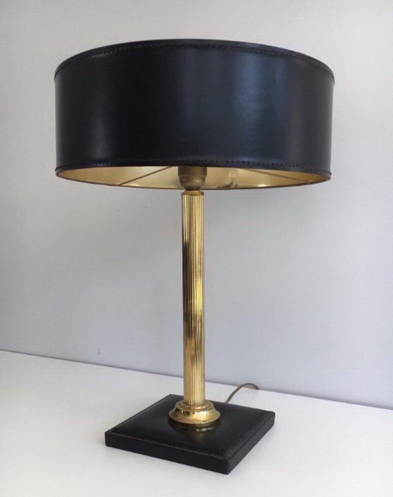 Leder & Messing Tischlampe, 1960er