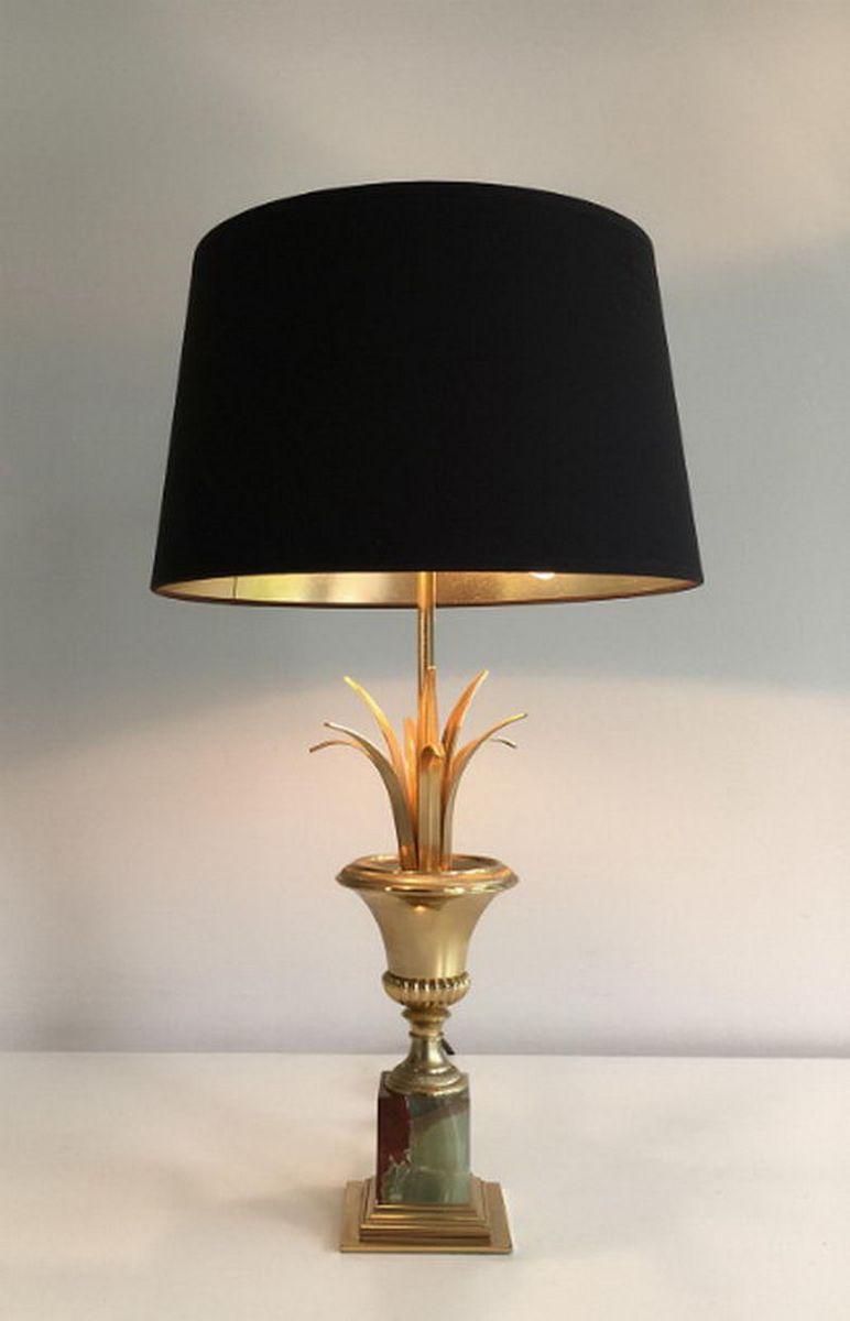 Vergoldete Lampen mit Onyx Gestell, 1970er, 2er Set