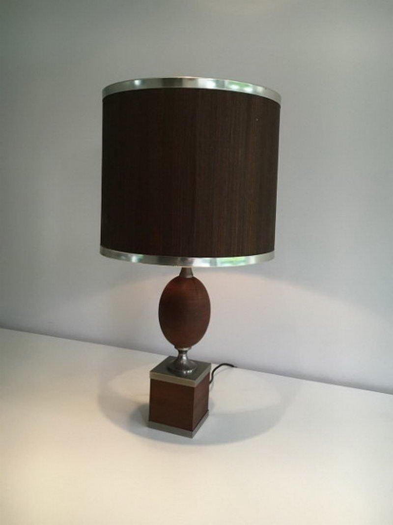 Tichlampe aus Holz & gebürstetem Stahl, 1970er
