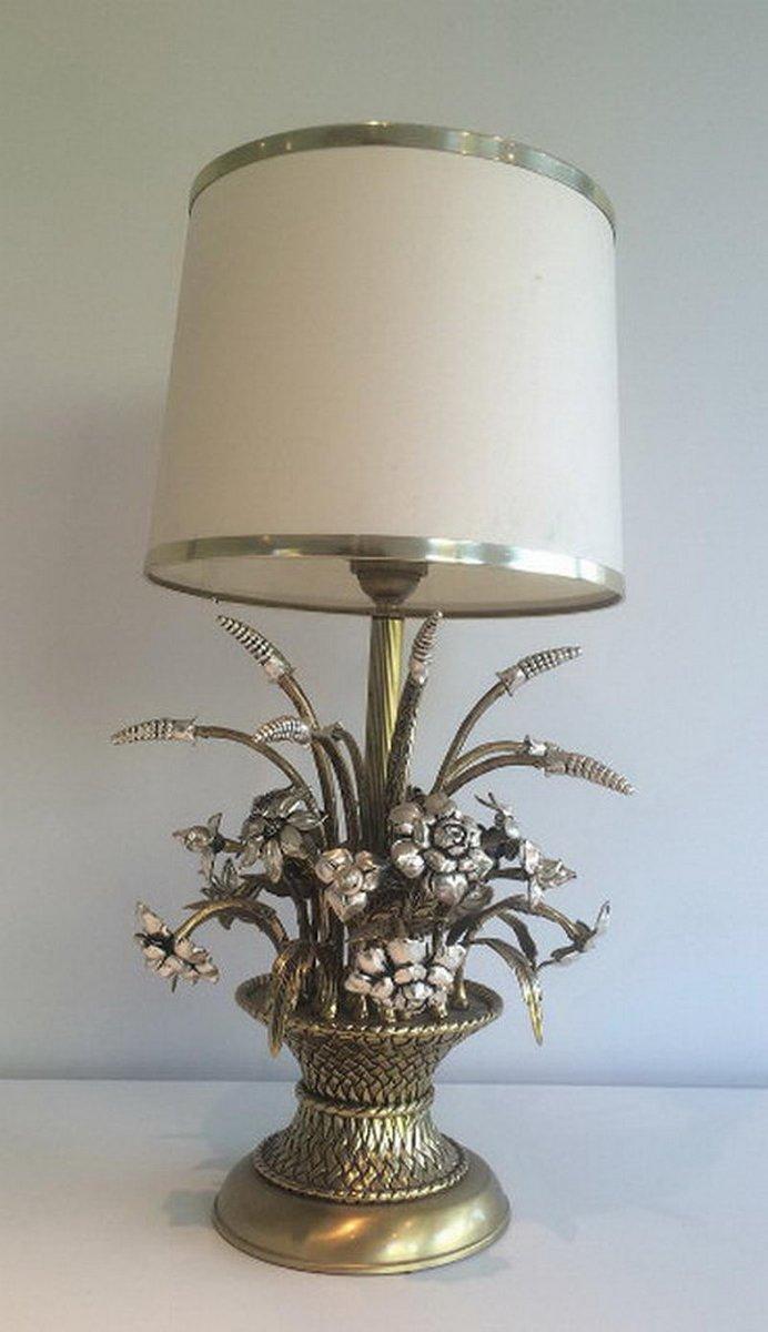 Florale Tischlampe aus Messing & Silber, 1960er
