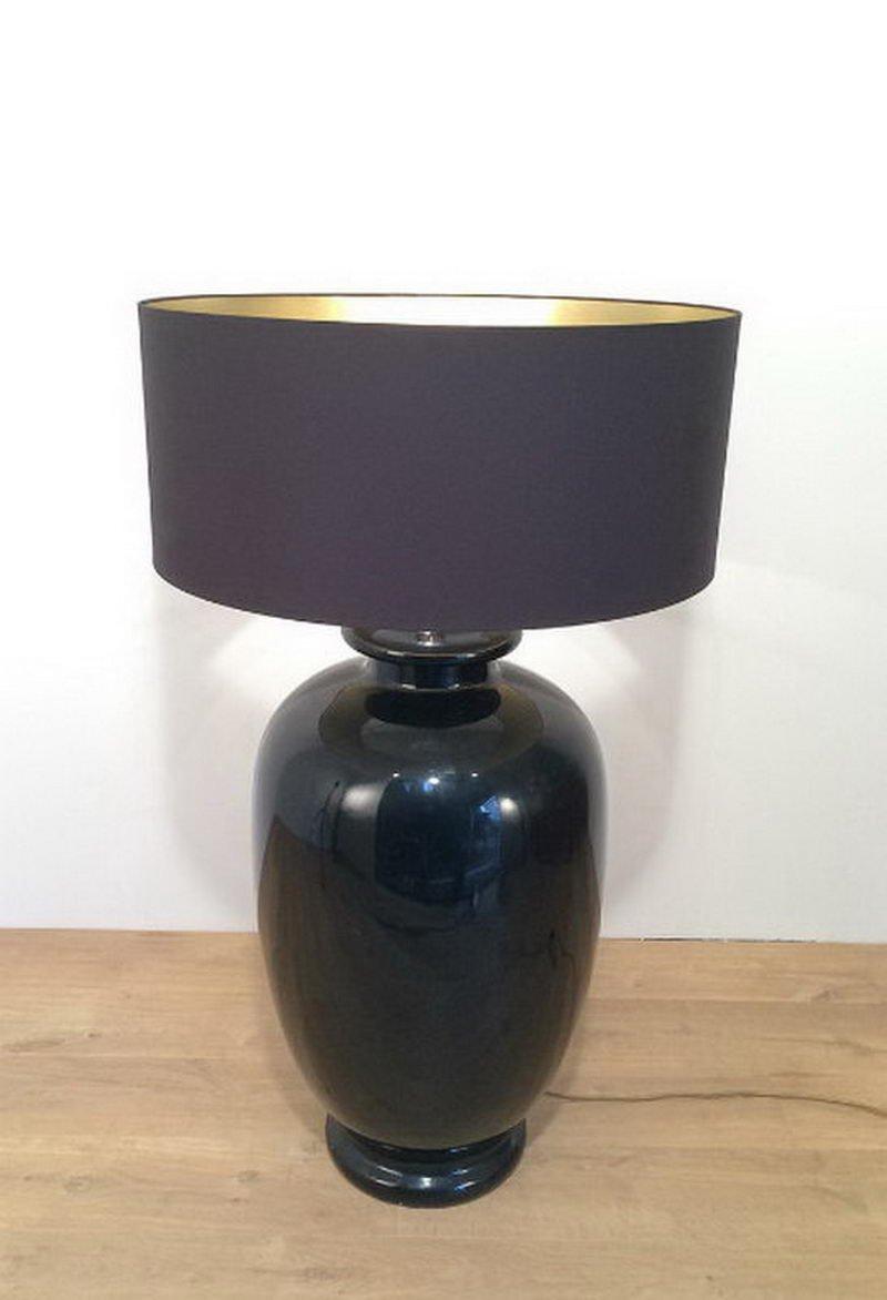 Große italienische schwarz emaillierte Keramik Stehlampe, 1960er