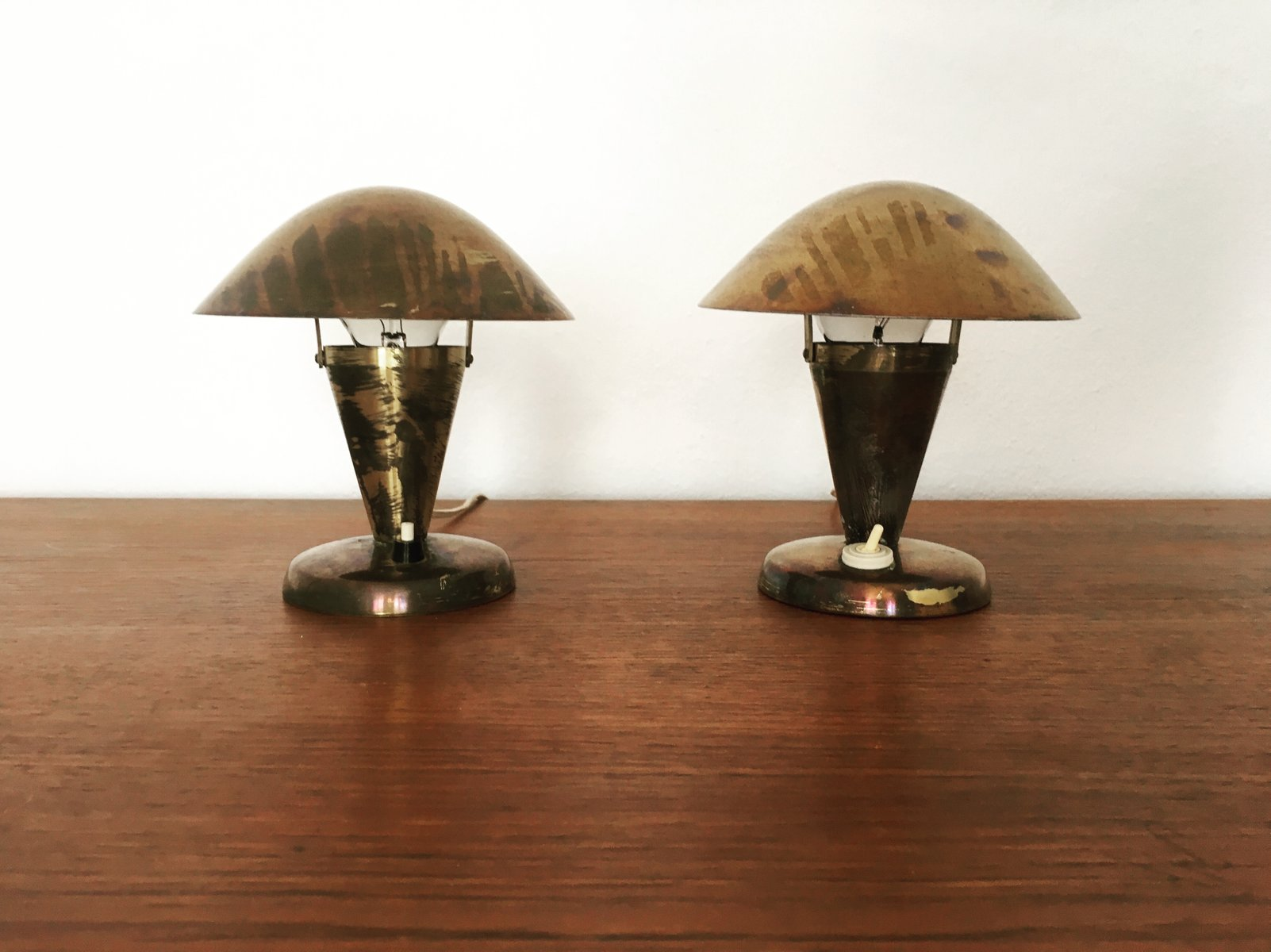 Tschechische Messing Tischlampen von Josef Hurka für Napako, 1930er, 2...