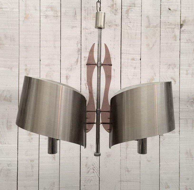 Kronleuchter aus gebürstetem Stahl & Plexiglas von Maison Charles, 196...