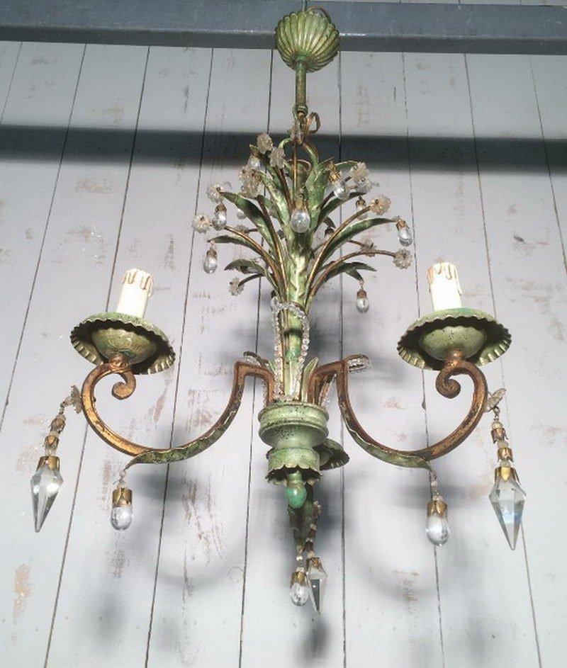 Kronleuchter aus Kristallglas & lackiertem Metall von Maison Bagues, 1...