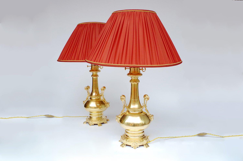 Tischlampen aus vergoldetem Messing & Bronze, 1880er, 2er Set
