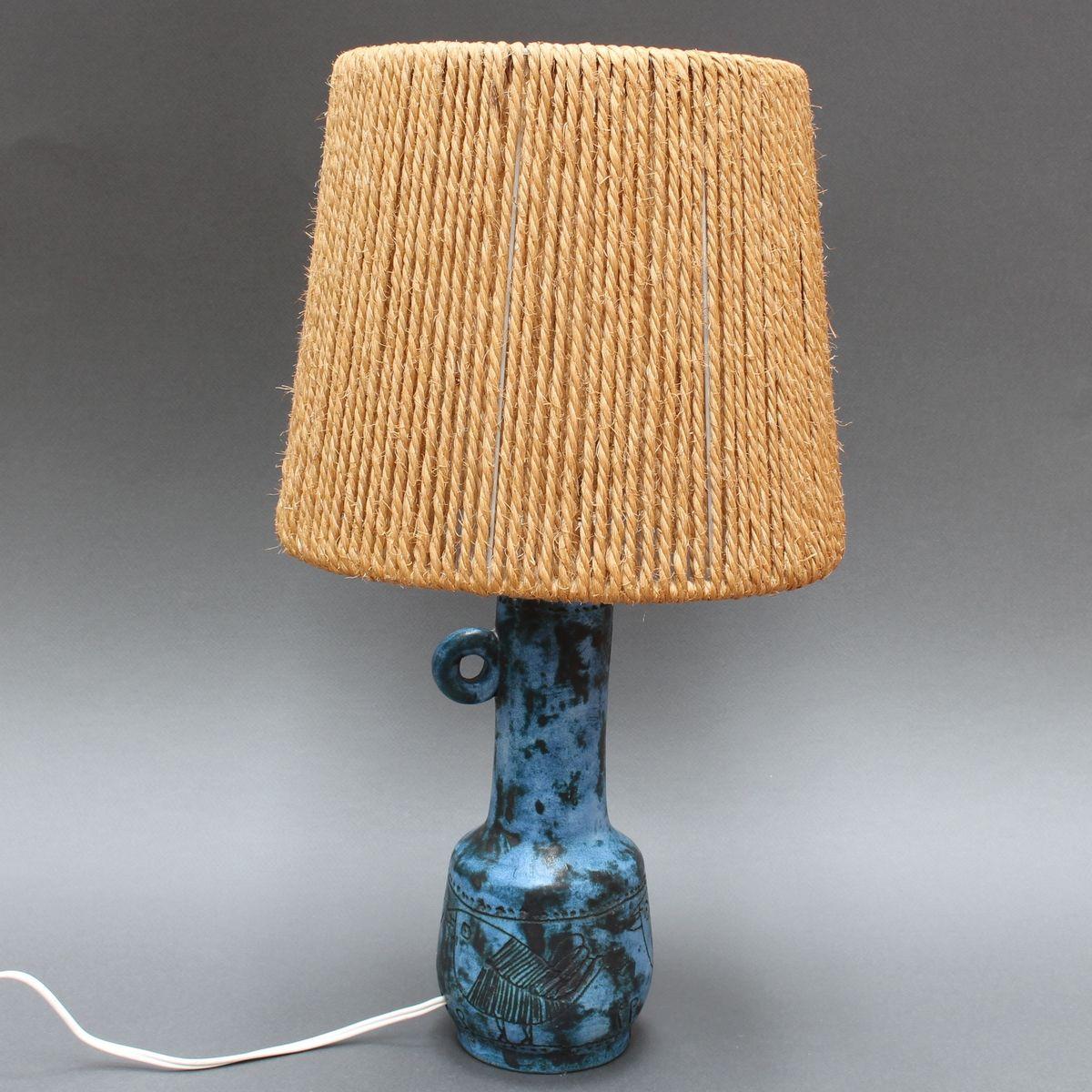 Französische Keramik Tischlampe von Jacques Blin, 1950er