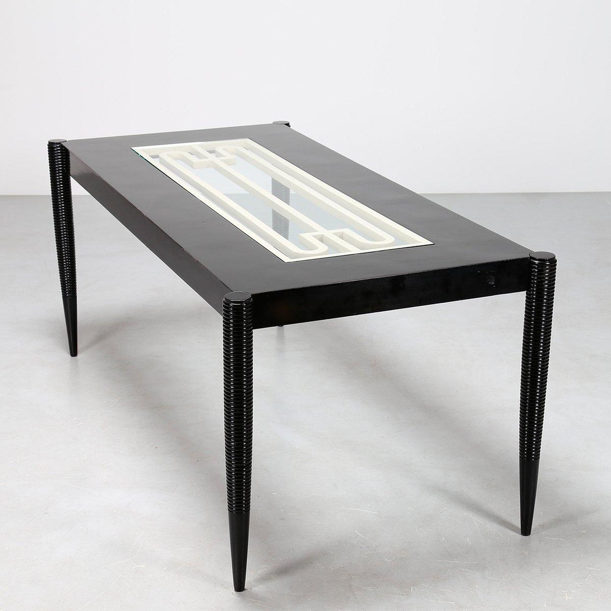 italienischer mid century esstisch aus schwarz lackiertem holz 1950er bei pamono kaufen. Black Bedroom Furniture Sets. Home Design Ideas