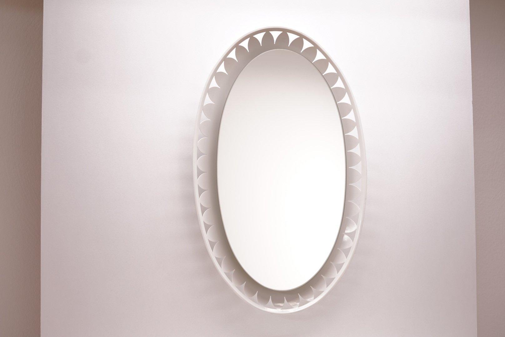 Beleuchteter ovaler Spiegel von Ernest Igl für Hillebrand, 1950er | Bad > Spiegel fürs Bad | Weiß | Hillebrand Lighting