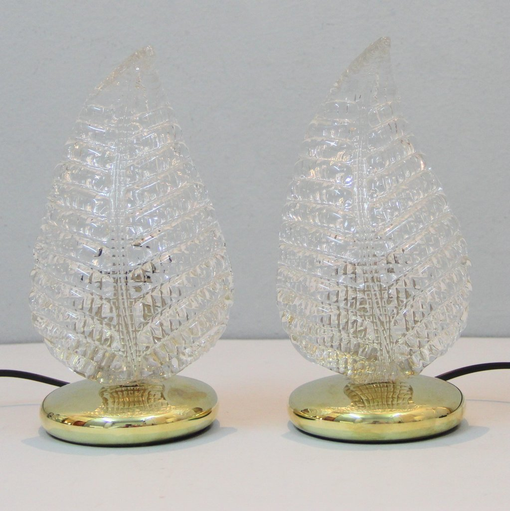 Italienische vintage Murano Glas Tischlampen, 2er Set