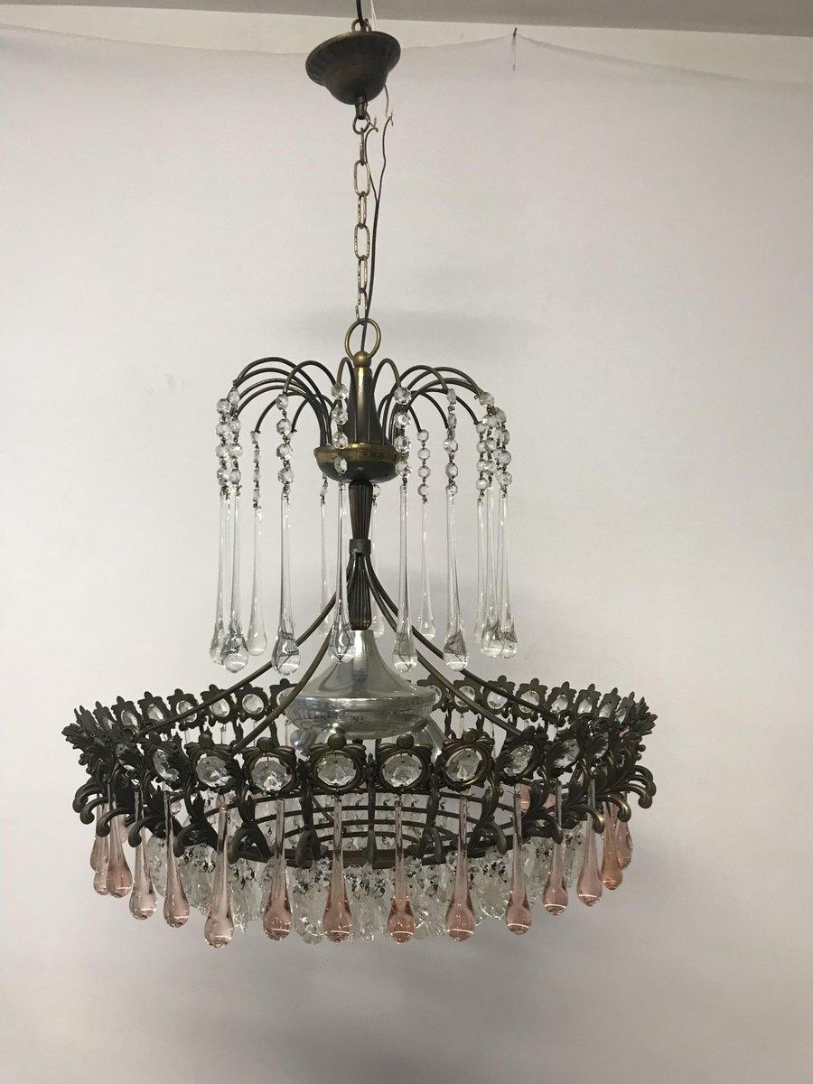 Kaskadierender italienischer vintage Kronleuchter aus Murano Glas & Kr...