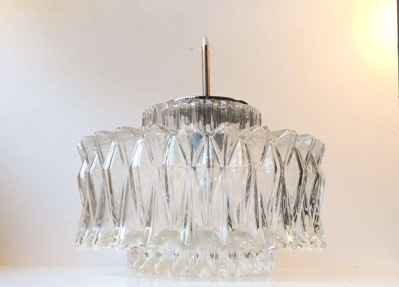 Vintage Starburst Glas Hängeleuchte von Glashütte Limburg, 1960er