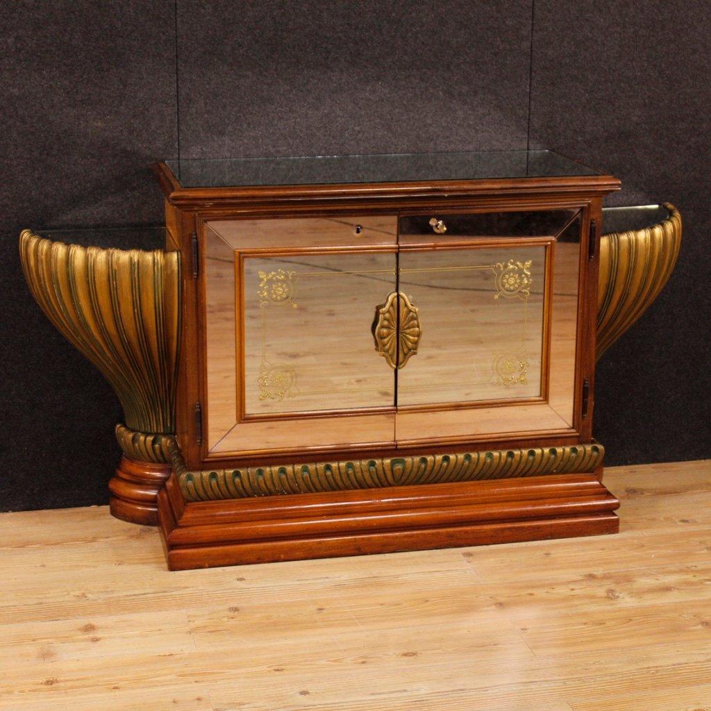 Vintage Sideboard in lackiertem und vergoldetem Holz