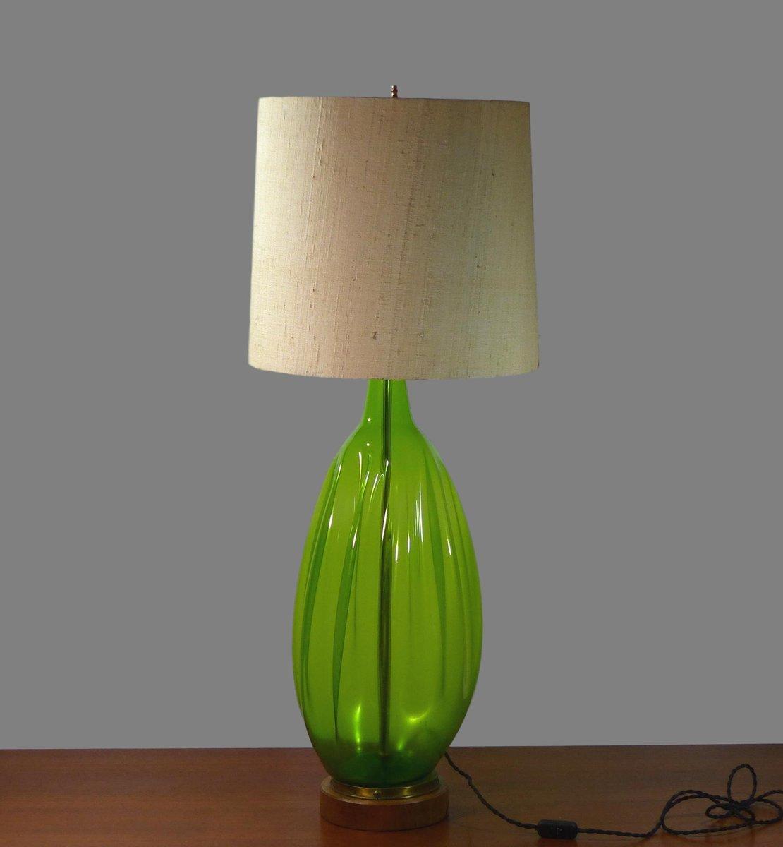 Große mundgeblasene vintage Glas Tischlampe von Blenko