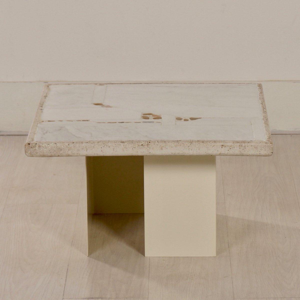 Kleiner weißer Marmor Couchtisch von Paul Kingma, 1980er