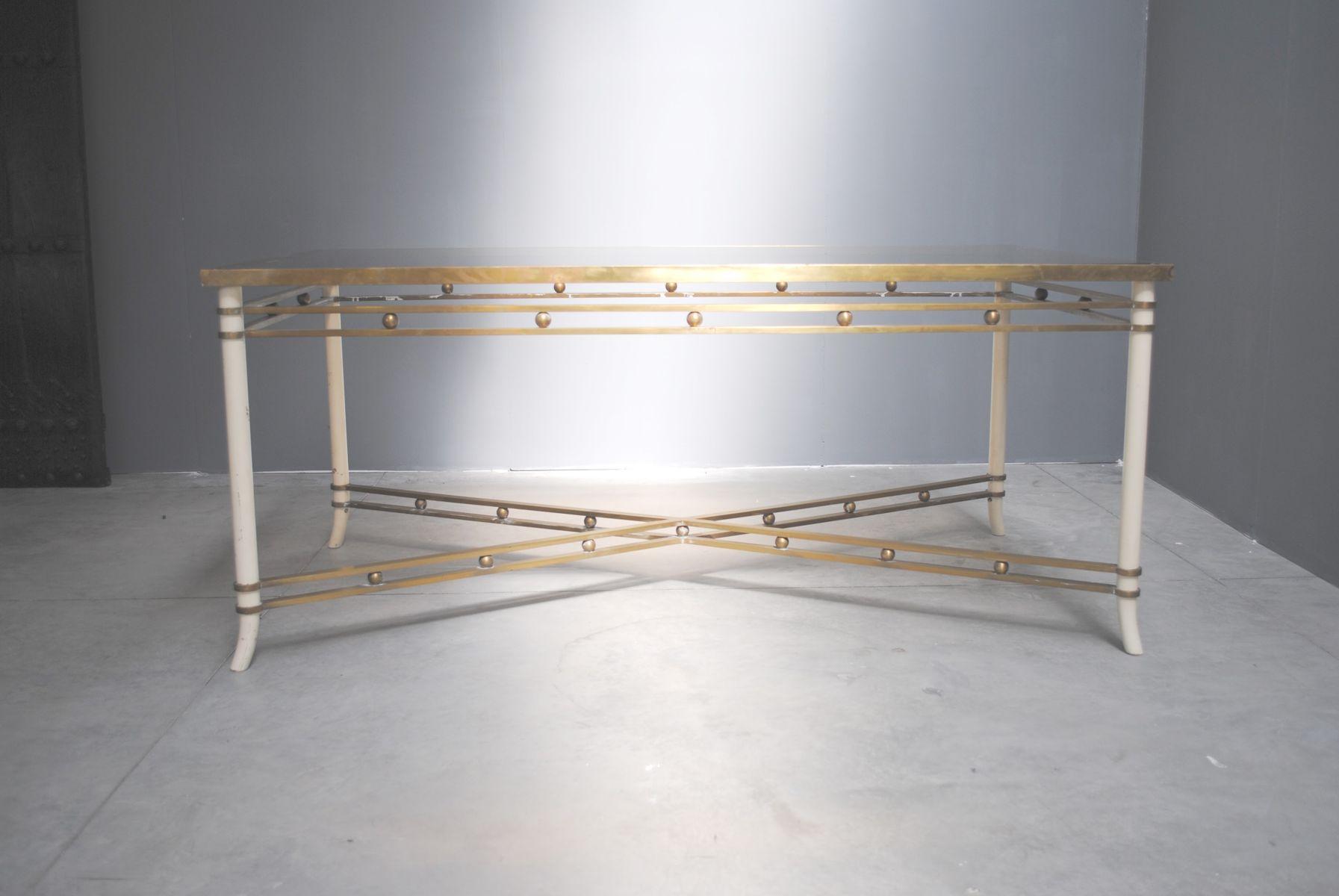 Table de salle manger mid century en laiton verre en vente sur pamono for Table de salle a manger en verre
