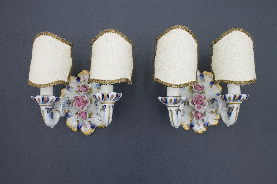 Porzellan Wandlampen, 1960er, 2er Set