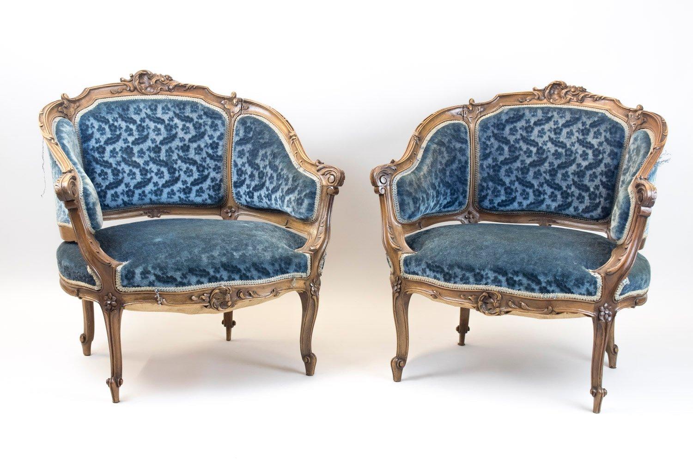 Antike Bergere Sessel in Korbform, 2er Set