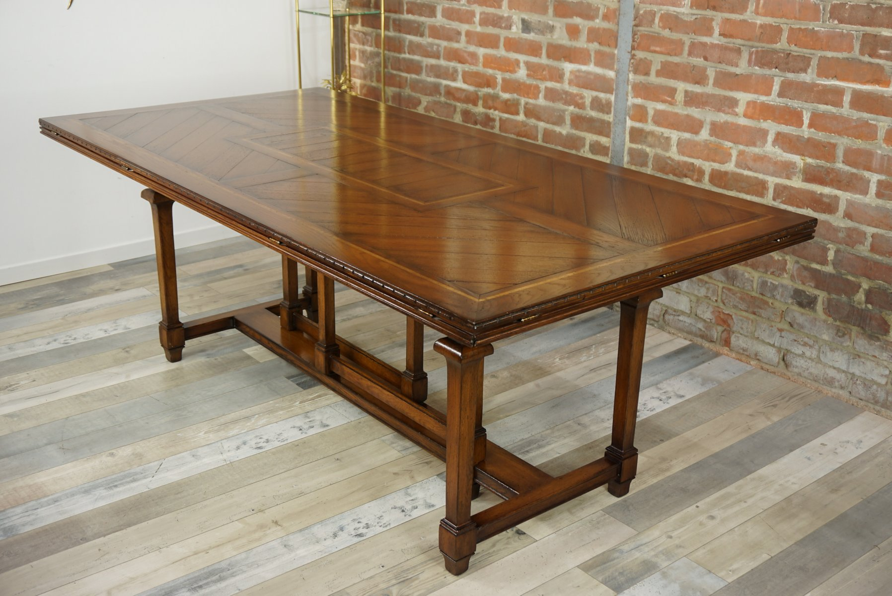 vintage wooden marquetry modular dining table - Modular Dining Room