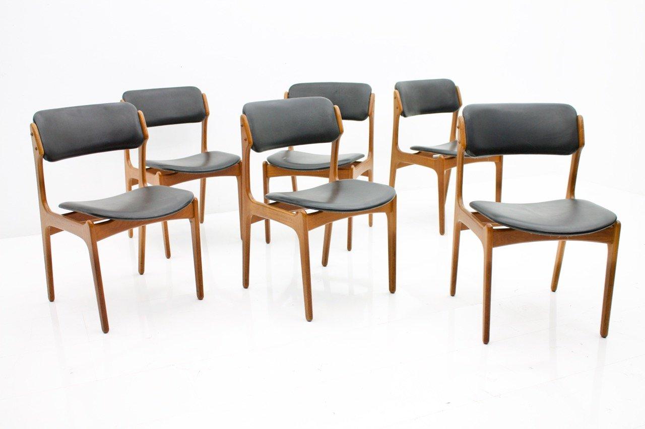 esszimmerst hle aus teak und leder von erik buch f r oddense 1960er 6er set bei pamono kaufen. Black Bedroom Furniture Sets. Home Design Ideas