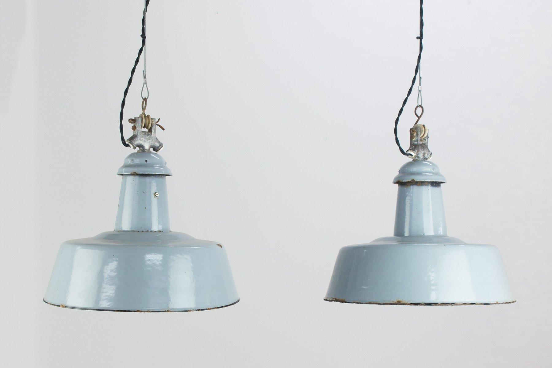 Industrielle vintage Emaille Hängelampen in Blau, 2er Set