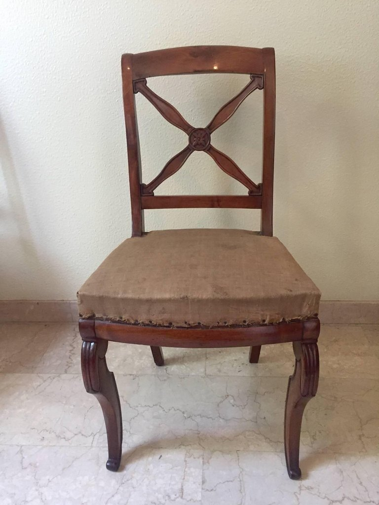 antique french empire walnut chairs 1820s set of 5 for sale at pamono. Black Bedroom Furniture Sets. Home Design Ideas