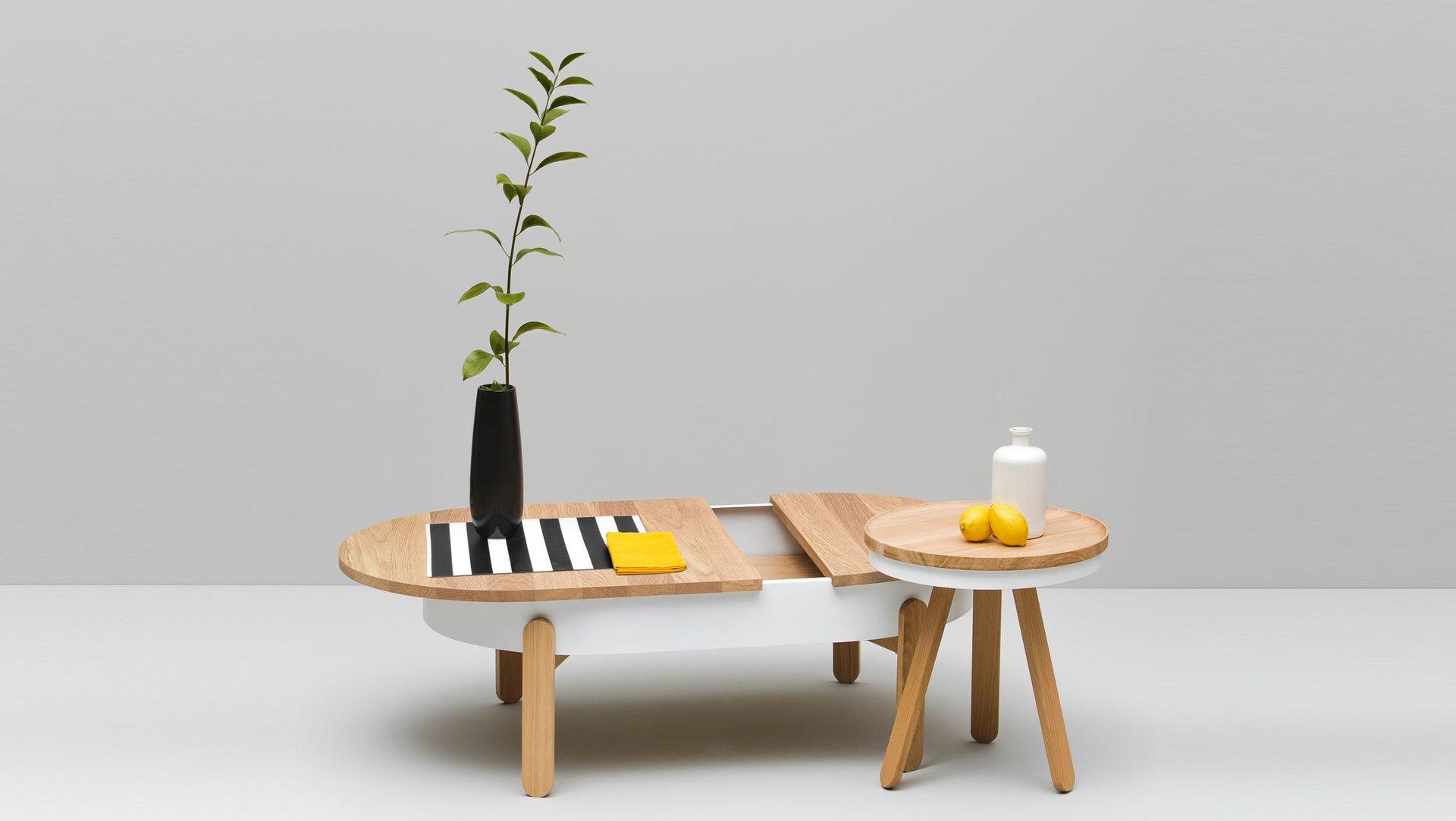 kleiner batea tablett tisch in eiche wei von daniel garc a s nchez f r woodendot bei pamono kaufen. Black Bedroom Furniture Sets. Home Design Ideas