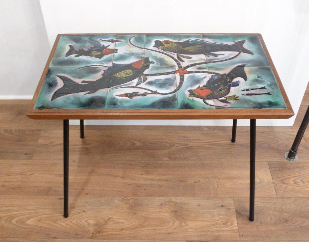 Couchtisch mit Fisch Dekor auf Emaillierter Keramik von Edilgres, 1950...