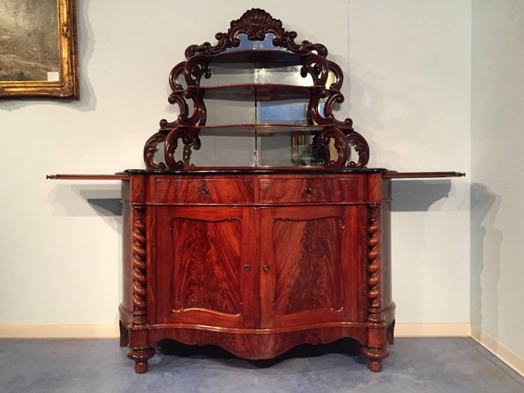 Antique Italian Gany Sideboard With Mirror 1850s 7 2 076 00