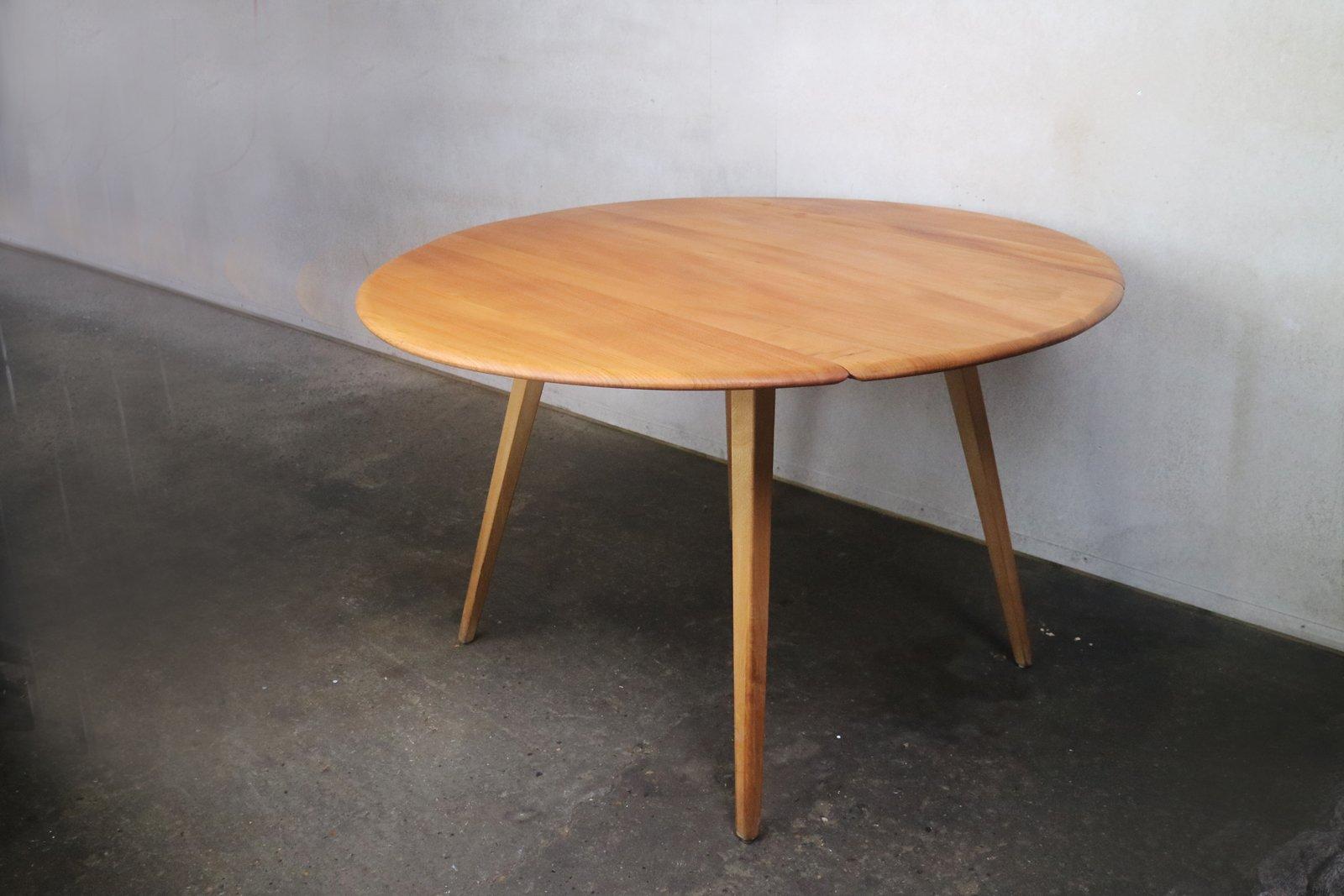 ausklappbarer runder mid century esstisch aus buche ulmenholz von ercol bei pamono kaufen. Black Bedroom Furniture Sets. Home Design Ideas