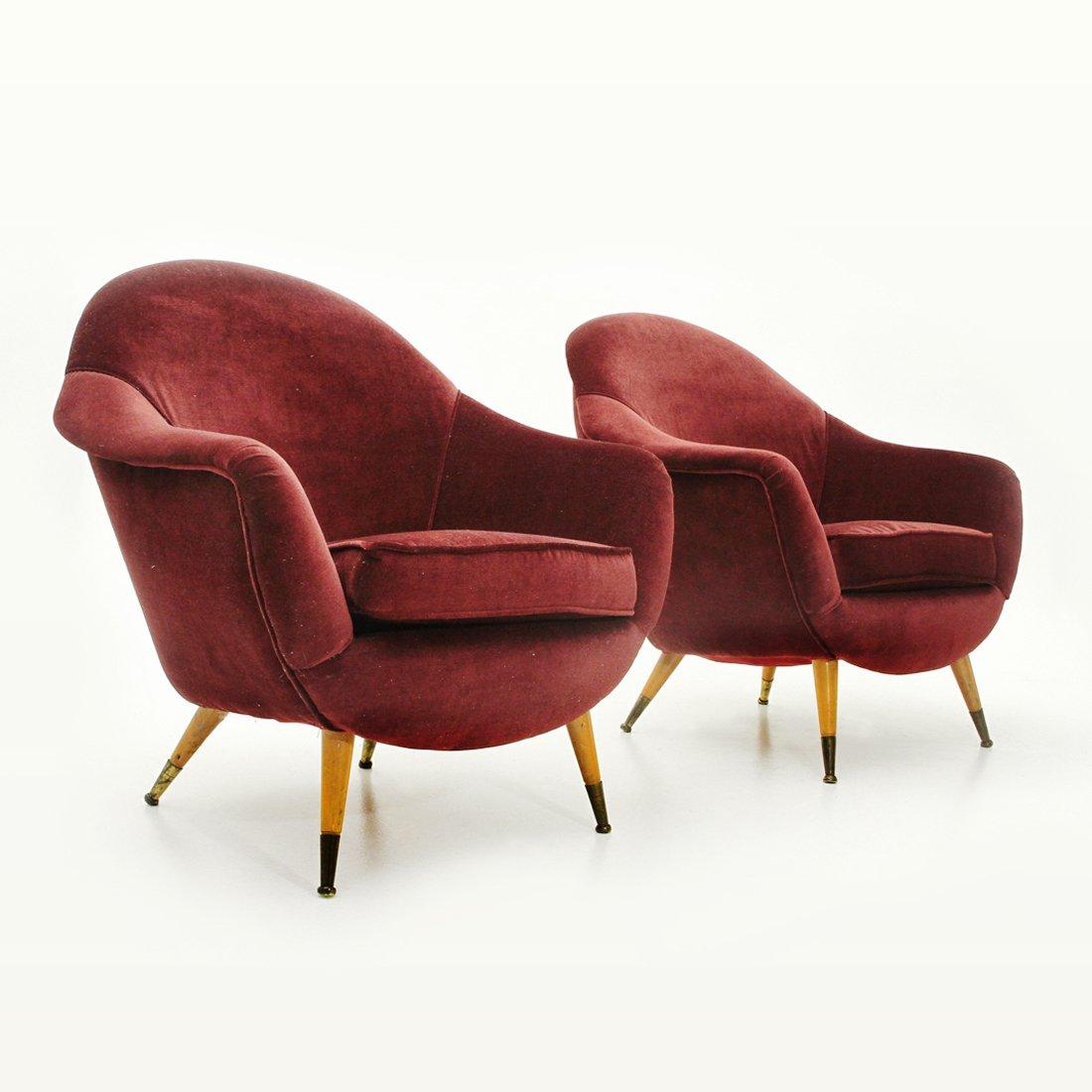 Italienische rote Samt Sessel, 1950er, 2er Set